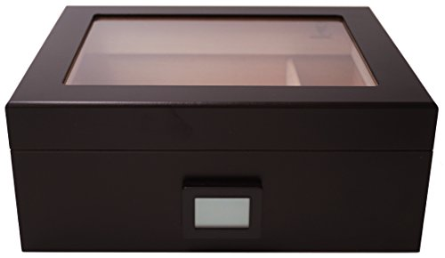 GERMANUS Desk V Humidor Digital igrometro e Cristallo Umidificatore per Sigari, Nero