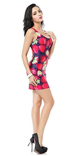 Thenice, sexy Kleid, figurbetont, elastisch, ärmellos Erdbeerrot
