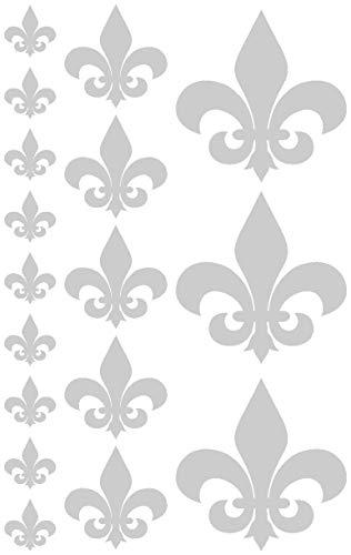 Samunshi® Wandtattoo Fleur de lys Fleur de Lis Set in 5 Größen und 25 Farben (30x19cm silbermetalleffekt) Fleur De Lis Lys