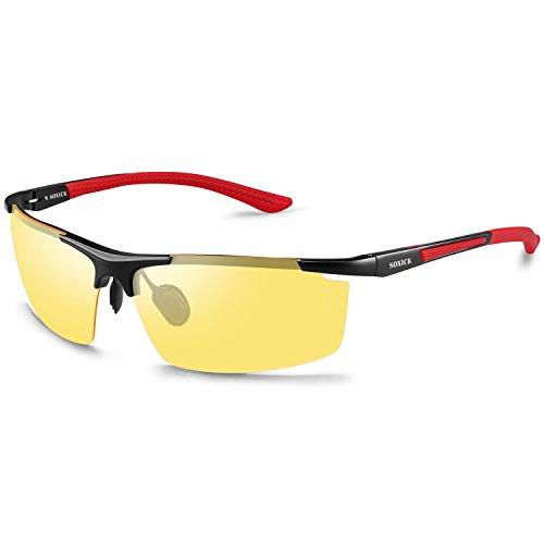 Soxick Herren Sonnenbrille L Gr. L, Red Frame-1
