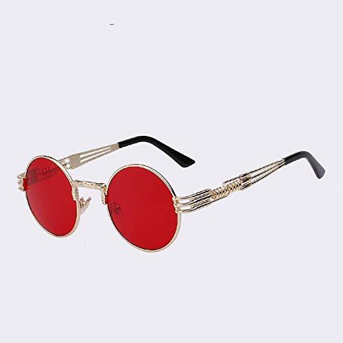 ZHOUYF Sonnenbrille Fahrerbrille Runde Sonnenbrille Männer Und Frauen Metall Retro-Sonnenbrille Mode Brillengläser Hohe Qualität Uv400, M