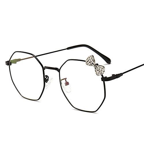 Retro Bowknot niedliche Brillen, klare runde transparente Linsen-Lesebrille, nicht verschreibungspflichtige klassische Vogue Optical Eyewear (Color : Black, Size : M)