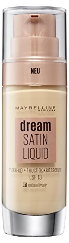 Maybelline Foundation Ivory (Maybelline Dream Satin Liquid Make-up Nr. 1 Natural Ivory, für einen natürlich strahlenden Teint mit zart schimmerndem Satin-Finish, mit Feuchtigkeitsserum und mattierendem Primer, 30 ml)