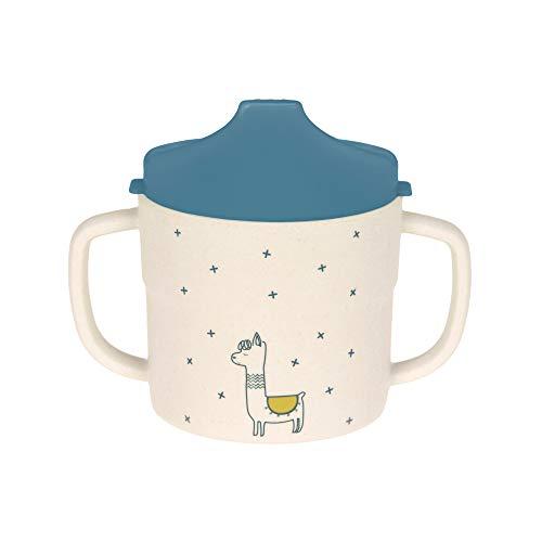 LÄSSIG Kinder Trinklernbecher Schnabeltasse, mit Henkel und abnehmbarem Deckel /Sippy Cup Glama Lama, blau