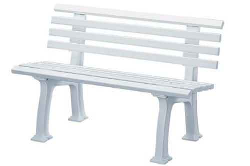 Parkbank aus Kunststoff - mit 9 Leisten - Breite 1200 mm, weiß - Bank Bank aus Holz\, Metall\, Kunststoff Bänke aus Holz\, Metall\, Kunststoff Gartenbank Kunststoff-Bank...