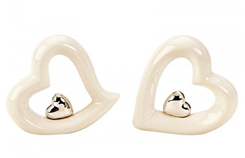 2 x Herzen Skulptur Weiß Silber Figur Herz im Herz je ca. 10,5 cm Liebe