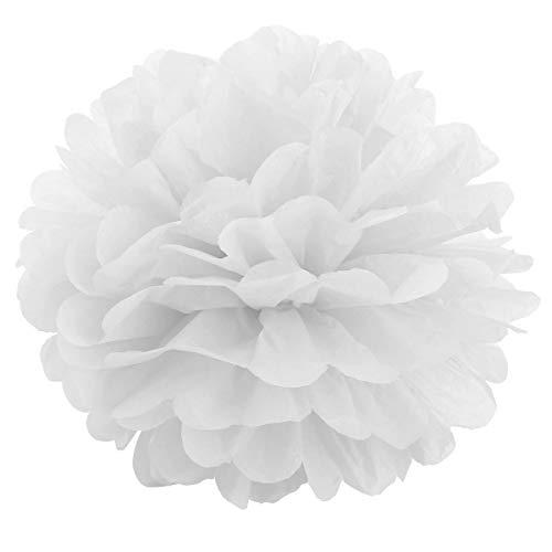 JZK 10 x Pompoms Pompons, 25cm Durchmesser, Seidenpapier Blume Dekoration für Wohnzimmer Hochzeit Geburtstag Babyparty Kinder Party Weihnachten Silvester, weiß