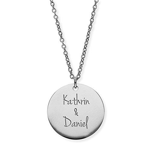 URBANHELDEN - Damen-Kette mit Wunschgravur Anhänger - Personalisierte Namenskette Amulett aus Edelstahl mit 2 Namen - Big Silber G5