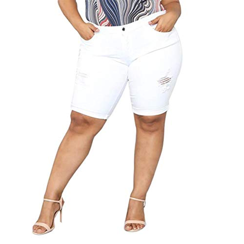 Large Size Woman's Short Jeans Loose Denim Middle Waist Women's Shorts Stretch Casual Women Shorts Woman High Waist Jeans White 4XL -