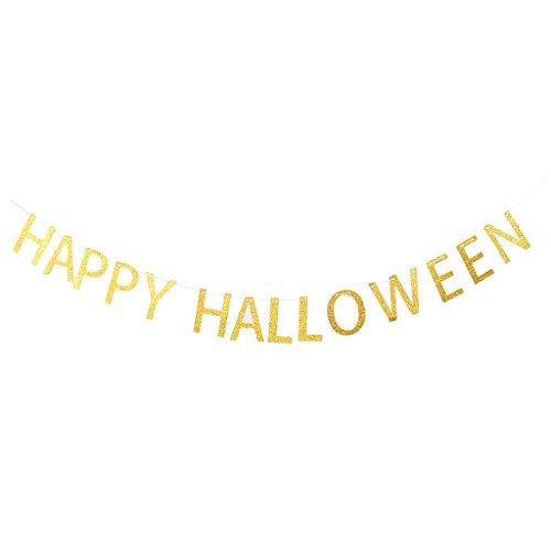 P Prettyia Glänzende Wimpelkette Girlandekette Wimpelgirlande Halloween Dekoration Zubehör, aus Papier und Schnur - Happy Halloween, 10 x 14 cm