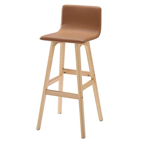 JYTZ Shop-Stool Home Furniture Fashion Solid Wood Bar Chair丨High Feet Dining Chair丨Bar Counter High Stool丨Kitchen Breakfast Barstool with Backrest-Beige Chairs&Stools (Size : 36x35x91cm) -