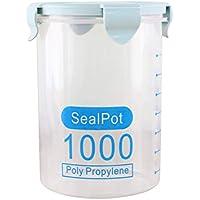 Yardwe Herméticos de cristal para conserva alimentos cereales especias contenedor de almacenamiento 1000ml ...