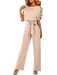 TOUVIE Damen Jumpsuit Elegant Lang Weites Bein Hohe Taille Kurzarm Overalls mit Gürtel S-XL
