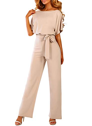 Happy Sailed Damen Kurzarm O-Ausschnitt Elegant Lang Jumpsuit Overall Hosenanzug Playsuit Romper S-XL