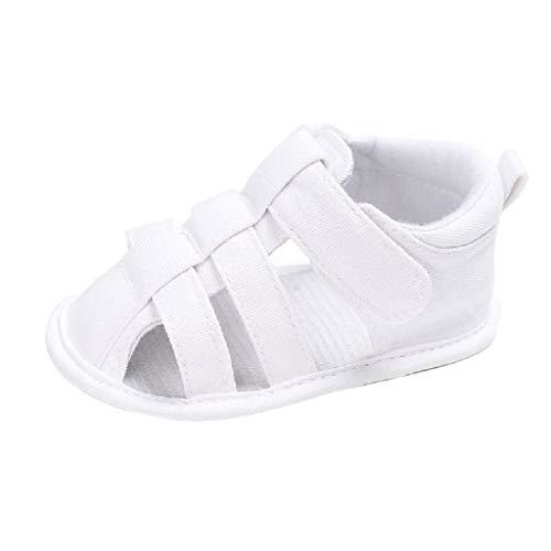 feiXIANG Unisex Baby Sandalen Frühlings Sommer weiche krippe Schuhe Mädchen Jungen Römersandalen 0-12 Monat(Weiß,6-9 Monat=12) -