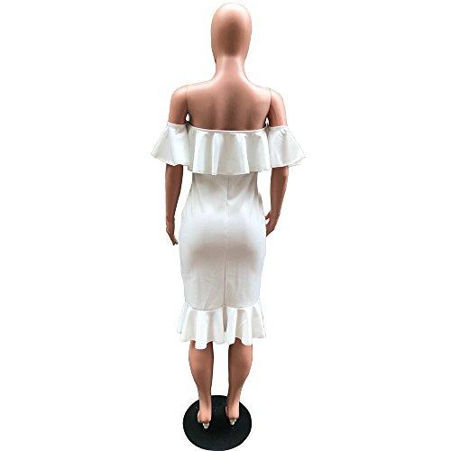 Hombaby Femme Robe Cocktail Volants Mini Robe Sans Manche Plissé Robe de Cocktail Vintage Decontracte Femmes dete Robe dépaule OFF Swing Robe Robe de Soirée épaules Dénudées Blanc