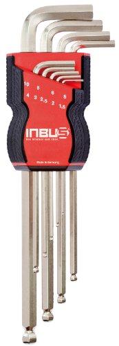 INBUS® Schlüssel Set 70167 mit Kugelkopf Metrisch 9tlg. 1,5-10mm | Made in Germany | Inbusschlüssel | Innensechskant-Schlüssel | Winkel-Schlüssel | Metrisch