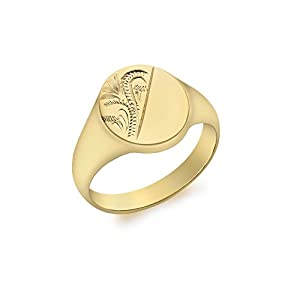 Carissima Gold Siegelring 9k (375) Gelbgold Oval Halb Engraved
