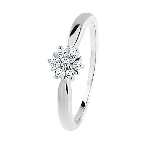 Diamond Line Diamant-Ring Damen 585 Weißgold mit 7 Brillianten 0.10 ct. Lupenrein (Damen Weißgold Ring Diamant)