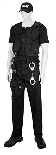 SWAT Kostüm inkl. Holster, Hose, Handschellen, Taktische Einsatzweste und Cap Schwarz XL (Handschellen Hosen)