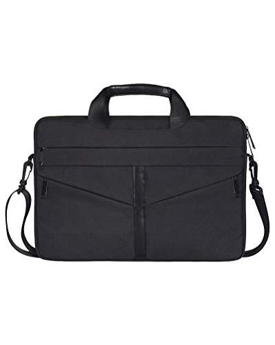 Laptop Tasche Wasserdichte Schultertasche mit Zubehör-Fächern und Tragegriff & Abnehmbarer Schultergurt Schwarz 15.6