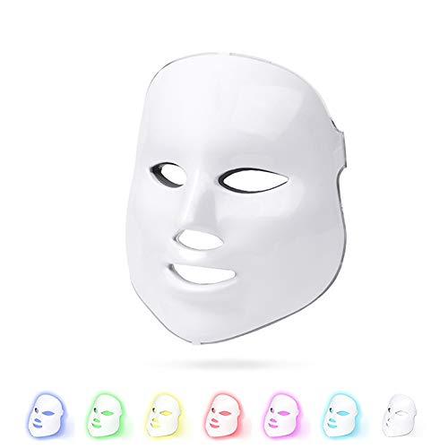 LED Gesichtsmaske Beauty GeräT,Anti-Aging-Gesicht gegen Falten Siebenfarbiges Licht Lichttherapie Maske Akne Beauty gerate Gesicht,Geeignet für zu Hause,Beauty-Salon,Weiß