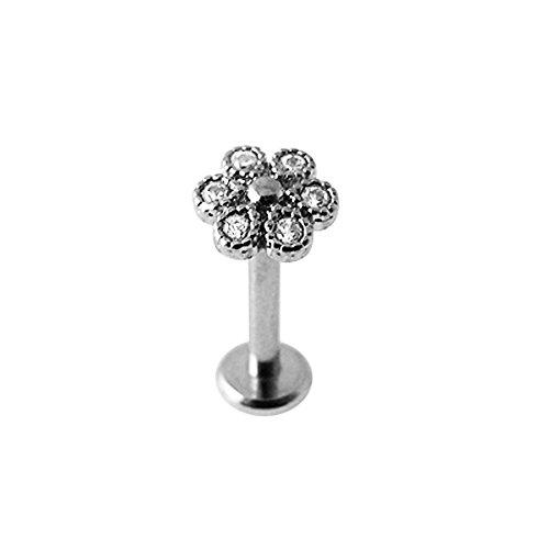 Mikro-Einstellung CZ steinerne Blume intern Gewinde Top 16 Gauge - 8MM Länge 316L chirurgischer Stahl Lippe Labret Tragus Bar Piercing