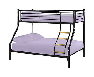 Brand new Triple Sleeper metal Bunk Bed 3ft Single 4ft6 Double bed for 3 person - Black colour