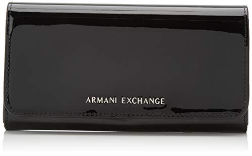 ff25ed6347 ARMANI EXCHANGE Wallet With Stud - Portafogli Donna, Nero (Black), 10.5x3x19