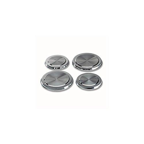 4 Herdabdeckplatten aus Edelstahl rostfrei, hochglanzpoliert
