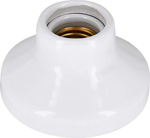 Premium Aufbau E27 Porzellanfassung Keramik Lampe - High Frequency - max. 1000W - Glasur weiß -