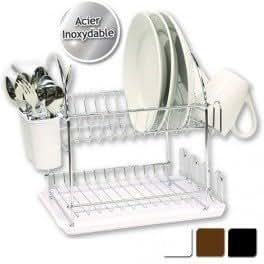 Egouttoir vaisselle double en inox avec plateau marron cuisin - Petit egouttoir vaisselle ...
