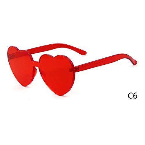 Rjjdd Liebe Herzform Sonnenbrille Frauen 2018 Randlos Gestell Tönung Klare Linse Bunte Sonnenbrille Rot Rosa Gelb Schattierungen Uv400 Rot