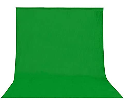 Green chromakey 2.8 x 1.8m / 9 x 6ft PRO Photo Studio 100% Cotton Muslin Collapsible chroma key Backdrop Background for Photography,Video and Televison - Green