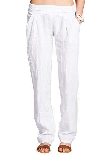 CASPAR KHS020 Damen Leinen Hose, Farbe:Weiss;Größe:42 XL UK14 US12