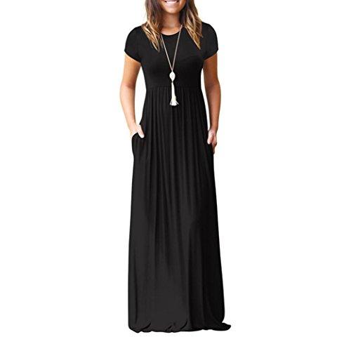 ANFASHION Frauen O Neck Casual Kurzarm Bodenlangen Kleid Lose Party Kleid (Bell Ärmel Samt Kostüme)