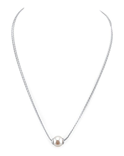 10mm White Freshwater Cultured Pearl Double Chain Pendant