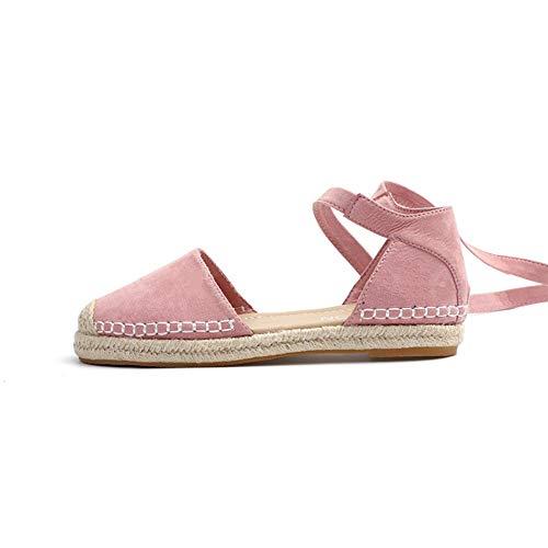 QIMITE Sandalias Plana Las Mujeres Verano Alpargatas Planas Zapatos Casual Plus Size Tobillo Sandalias...