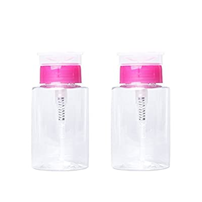 Teemico 2 Pieces 170ml Nail Polish Remover Pump Dispensers Empty Plastic Bottle Clear Cosmetic Empty Bottle Container