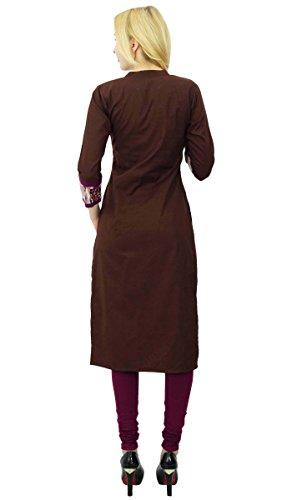 Phagun Coton Kurta Solide Femmes Ethniques De Créateurs De Vêtements De Robe Kurti À Manches 3/4 marron et Violet