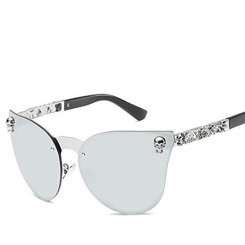 Yuanz Katzenaugen Rahmenlose Sonnenbrille Damen Herren Retro Geprägte Beine Große Katzenbrille Stück Persönlichkeit Mode,S349