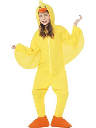 (Luxuspiraten - Kinder Jungen Mädchen Kostüm Plüsch Ente Küken Duck Chicken Fell Einteiler Onesie Overall Jumpsuit, perfekt für Karneval, Fasching und Fastnacht, 122-134, Gelb)