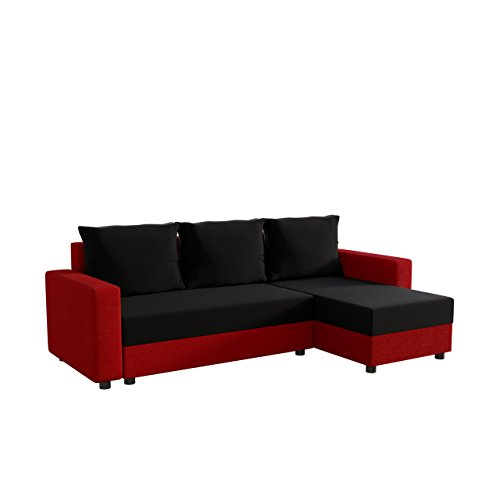 Ecksofa Vibo Eckcouch Sofa mit Bettkasten, Schlaffunktion L-Form Couch, Ottomane Universal, Schlafsofa vom Hersteller (Korpus, Seiten, Einlage, Rückenlehne: Alova 46; Sitzfläche, Kissen, Alova 04)