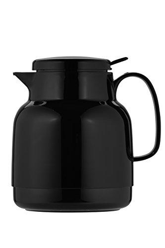 Helios Mondo Push Kunststoff Isolierkanne Drehverschluss mit Drucktaste 1,3 l schwarz - Kolben Kleinen Thermoskanne