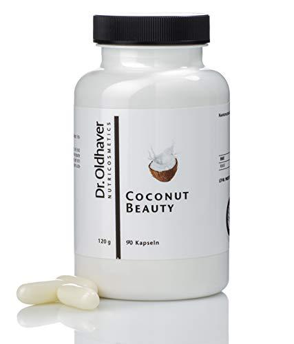 Dr. Oldhaver Coconut Beauty - BIO Kokos-Öl Kapseln | Kaltgepresstes Kokosöl (1000mg) mit natürlichen Fettsäuren | Für eine schöne Haut | Low Carb Schönheits- und Energiebooster | 90 Kapseln (Schönheits-kapseln)