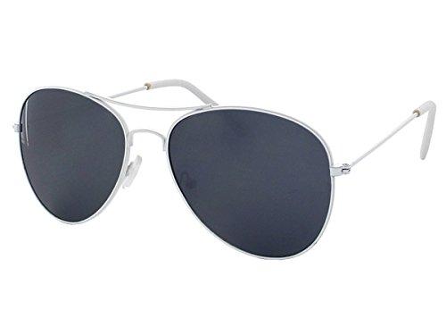 70er 80er Jahre Retro Alsino® Sonnenbrille Pornobrille Pilotenbrille Sonnenbrillen V-705 (weiß/schwarz)