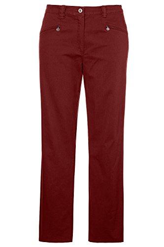 Ulla Popken Damen große Größen bis 64   Hose Mony   Gerades Bein & Stretch-Komfort   Reißverschluss-Taschen, elastischer Bund & Baumwolle   Henna 100 629386 33-100