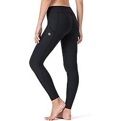 NAVISKIN Pantalones Yoga Mujer Pilates Mallas Deportivas Leggings Largos Bolsillos Laterales Elástico Transpirable Training Running Fitness Trekking Negro M