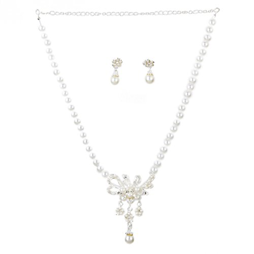 Imported Bridal Wedding Party Jewelry Rhinestone Floral Pearls Necklace Earring Set  available at amazon for Rs.375