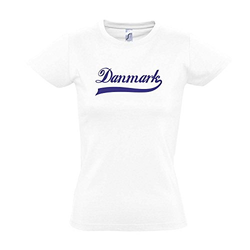 Damen T-Shirt - Dänemark Oldschool Danmark LÄNDERSHIRT EM / WM FAN Trikot S-XXL , White - blau , XL